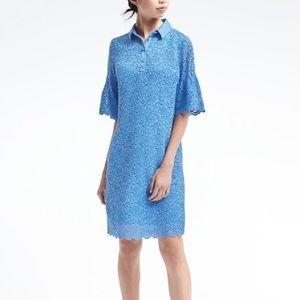 Banana Republic Blue Lace Shirt Shift Dress NWT
